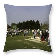 Visitors Having A Good Time At The Blair Drummond Safari Park Throw Pillow