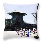 Visitors Heading Towards The Waterworld Attraction At Universal Studios Throw Pillow