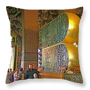 Visitors Pass Bottoms Of Feet Of Reclining Buddha In Wat Po In B Throw Pillow
