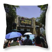 Visitors Thronging The Jurassic Park Rapids Adventure Ride Throw Pillow