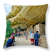Visitors To Spruce Tree House On Chapin Mesa In Mesa Verde National Park-colorado Throw Pillow