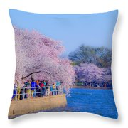 Visitors To The Blooms On The Basin Throw Pillow