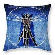 Vitruvian Cyberman In Deep Space  Throw Pillow