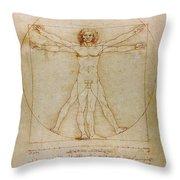 Vitruvian Man By Leonardo Da Vinci  Throw Pillow by Karon Melillo DeVega