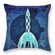 Vitruvian Tintin In Space Throw Pillow