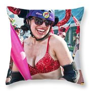 Vivacious Bull In New Orleans Running Of The Bulls Throw Pillow