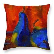 Vivid Pears Art Painting Throw Pillow by Blenda Studio