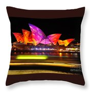 Vivid Sydney By Kaye Menner - Opera House ... Triangles Throw Pillow