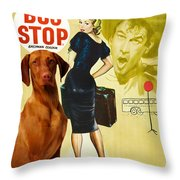 Vizsla Art Canvas Print - Bus Stop Movie Poster Throw Pillow
