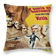 Vizsla Art Canvas Print - North By Northwest Movie Poster Throw Pillow
