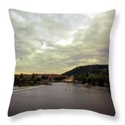 Vltava View Revisited - Prague Throw Pillow