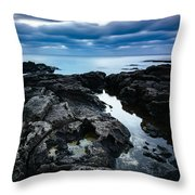 Volcanic Coastline And Cloudy Sunset Throw Pillow