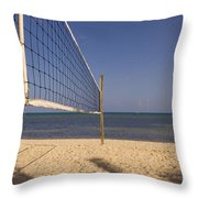 Vollyball Net On The Beach Throw Pillow