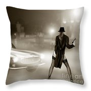 Volvo P1800 And Hot Detective Throw Pillow