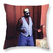 Voodoo Busker In New Orleans Throw Pillow