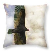 Vulture In Color Throw Pillow