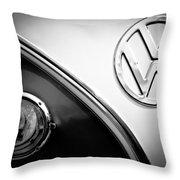 Vw Emblem Black And White Throw Pillow
