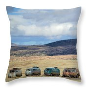 Vws Lined Up Under A New Mexico Sky Throw Pillow