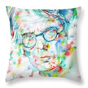 W. B. Yeats  - Watercolor Portrait Throw Pillow