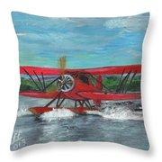 Waco Cabin Biplane Circa 1930 Throw Pillow