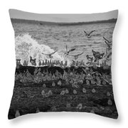 Wading Birds-black And White V2 Throw Pillow