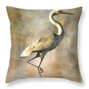 Wading Egret Throw Pillow