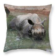 Wading Rhinos Throw Pillow