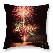 Wading View Of Fireworks Throw Pillow by Mark Miller