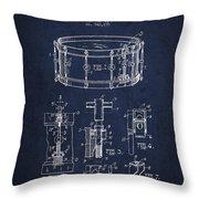 Waechtler Snare Drum Patent Drawing From 1910 - Navy Blue Throw Pillow