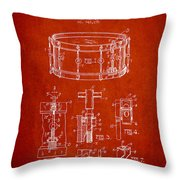 Waechtler Snare Drum Patent Drawing From 1910 - Red Throw Pillow