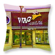 Wag A Posh Pet Store Cafe For Spoiled Pets The Glebe Paintings Of Old Ottawa South Carole Spandau  Throw Pillow
