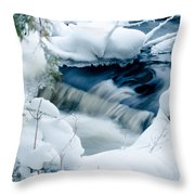 Wagner Creek In Winter Throw Pillow