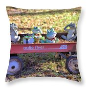 Wagon Full Of Frogs Throw Pillow