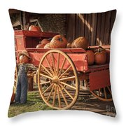 Wagon Full Of Pumpkins Throw Pillow