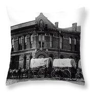 Wagon Train In Downtown Spokane - 1880 Throw Pillow