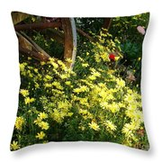 Wagon Wheel Flowers Throw Pillow