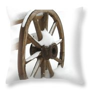 Wagon Wheel In Snow Throw Pillow