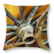 Wagon Wheels Throw Pillow by Barbara Snyder