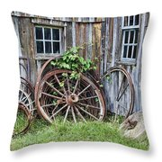 Wagon Wheels In Color Throw Pillow by Crystal Nederman