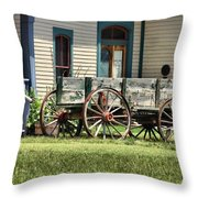 Wagon Wheels In Dodge City Throw Pillow