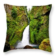 Wahclella Falls In Oregon Throw Pillow