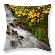 Wahkeena Falls At Columbia River Gorge In The Fall Throw Pillow
