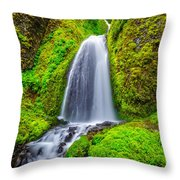 Wahkeena Falls Oregon Throw Pillow