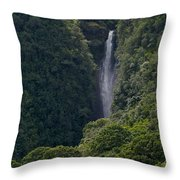 Wailua Stream Waiokane Falls View From Wailua Maui Hawaii Throw Pillow