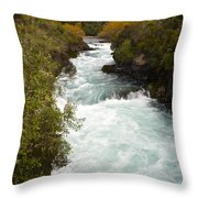 Waikato River Huka Falls Throw Pillow