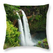 Wailua Falls Kauai Throw Pillow by Photography  By Sai