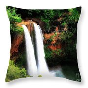Wailua Falls Throw Pillow