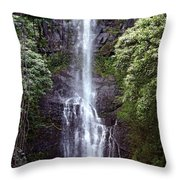 Wailua Falls Maui Throw Pillow