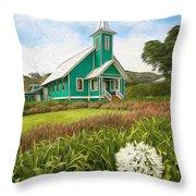 Waimea Church Throw Pillow