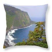 Waipio Valley Overlook Throw Pillow